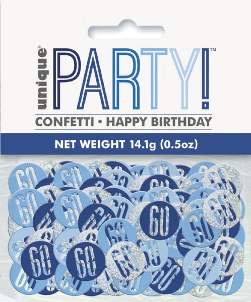 Glitz Blue Age 60 Table Confetti